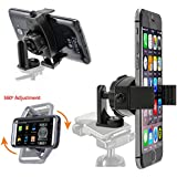 ChargerCity 360º Swivel Adjust Selfie Live Video Camera Tripod Mount & MegaGrab Easy-Adjust Smartphone Holder for Apple iPhone X 8 7 6s Plus Samsung Galaxy S7 S8 edge Note LG V30 phones
