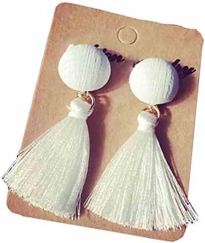 JOYJULY Beautiful Elegant Korean Style Long Thread Tassel Drop Dangling Earrings Ear Studs