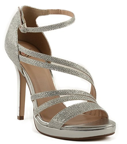 Shimmer Women's w High Ankle Strap Straps Ruche Heel Sandal Amoret Delicious on Silver 7a7qpZRFw