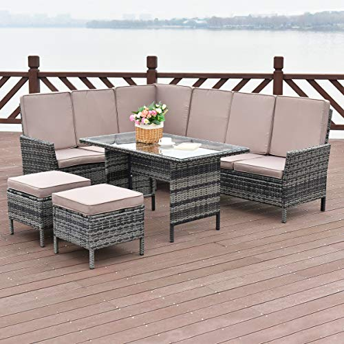 Tangkula 5 Pieces Patio Furniture Set Wicker Rattan Steel Frame Patio Outdoor Garden Conversation Set High Back Sectional Sofa Set with Tempered Glass Top Dining Table (Discount Outdoor Sectionals)