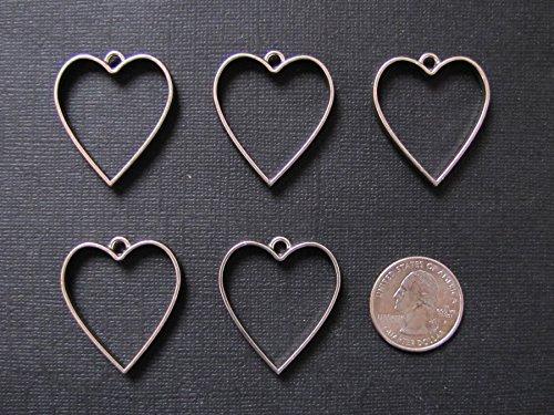 - 5 Pewter HEART Open Bezels for Resin, Open Back Bezel Pendant Blanks for Jewelry Making