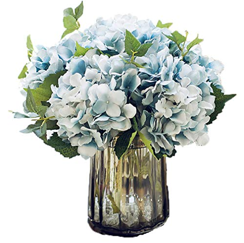 Anlise Artificial Hydrangea Flowers Fake California Hydrangea Silk Bouquet Flower for Home Wedding Decor, Pack of 4 (Blue)