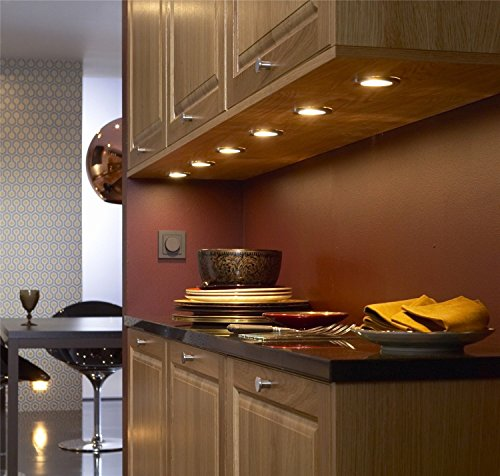 Under Cabinet Kitchen Lighting Ideas For Counter Tops: Under Cabinet Lighting Dimmable LED Puck Lights Linkable