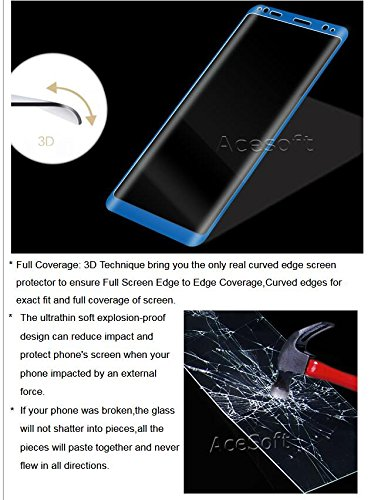High Responsivity Anti-Shatter Shockproof Curved Tempered Glass Screen Protector Guard Shield Saver Armor Cover for Sprint Samsung Galaxy Note 8 SM-N950U Android phone - Blue