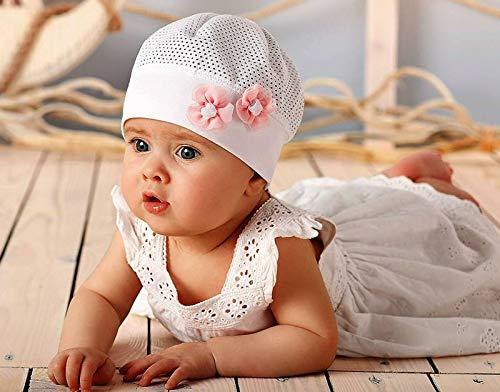 Marika Baby M/ädchen Leichte Sommer M/ütze Taufe Baumwolle Wei/ß Rosa