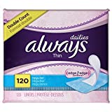 Always Thin DWduz Dailies Unscented Wrapped Liners, Regular, 120 Count