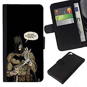 Stuss Case / Funda Carcasa PU de Cuero - Badass Bat Superhero - HTC Desire 820