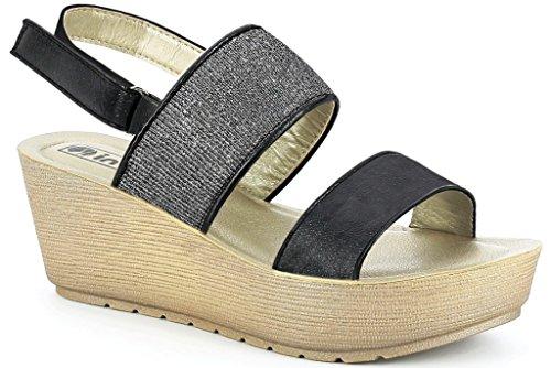 Inblu, Sandalo Donna Nero Nero 38