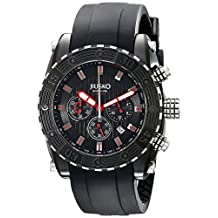 JIUSKO Deep Sea 51LB11 Men's Multifunction Black Stainless Steel Watch with Silicone Strap