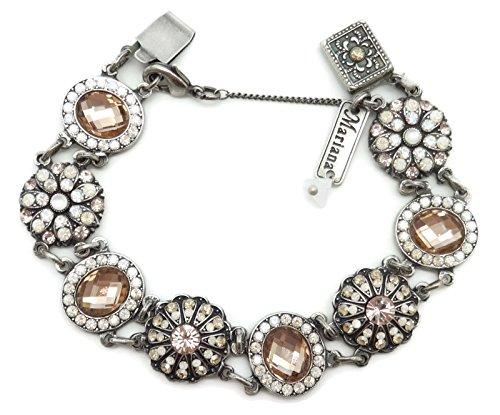 Mariana Swarovski Crystal Silver Plated Bracelet Peach White Oval Flower Mosaic 1078 Kalahari by Mariana