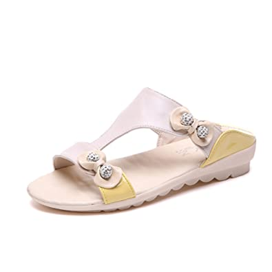 dd8290b88f10bd Btrada Slides for Women Summer Rhinestone Sandal Bohemian Flats Outdoor  Open-Toe Casual Shoes Beige