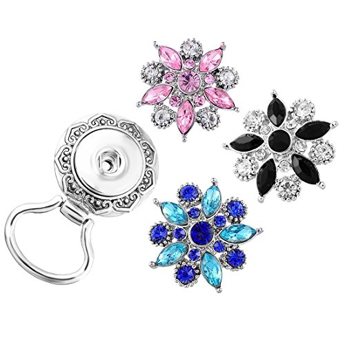- Souarts Interchangeable Eyeglass Holding Snaps Brooch with 3 Colorful Flowers Sanp Charm Buttons