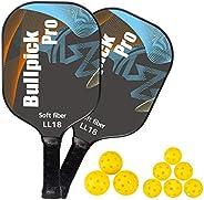 Bullpickpro Pickleball Paddle Set of 2 Graphite Pickle-Ball Racket Polypropylene Honeycomb Core Lightweight Pa