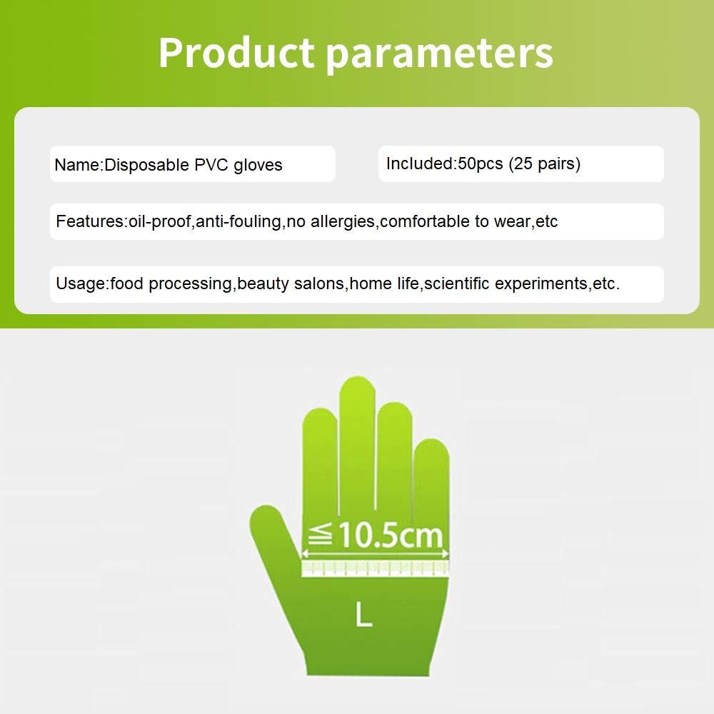 50 pi/èces Mitaines Transparent Gants, Mitaines en PVC Transparent pour Le Nettoyage de la Cuisine