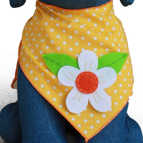 Tail Trends Dog Bandanas for Every Dog Occasion with Sunflower Summer Spring Nature Handmade Appliques - 100% -