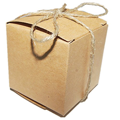 Truffle Box Favor 2 (50pcs Wedding Favors Candy Boxes 2x2x2 Inch, Rustic Kraft Brown Square Cardboard Jewelry Gifts Box for Vintage Bridal Shower Party Birthday Baby Shower Decoration (With Hemp Rope))