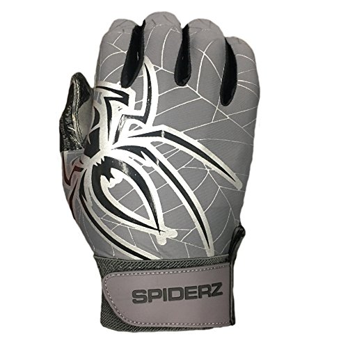 Spiderz Adult RAW Football Glove with Dirty Money Palms (Platinum/Black/Silver, X-Large) ()