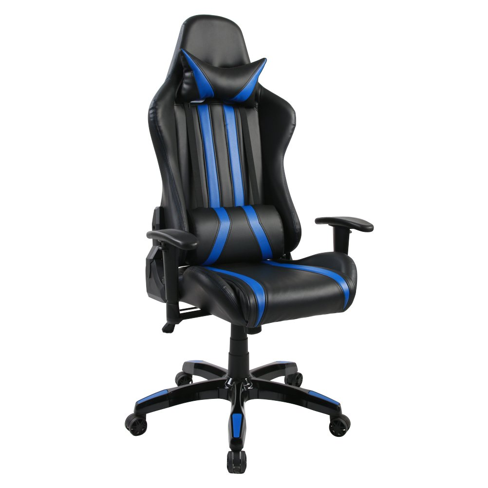 Ergonomic Racing Gaming Chair Swivel Computer Desk Chair Office Chair High Back with Adjustable Headrest and Lumbar Support R78-Blue, without Footrest