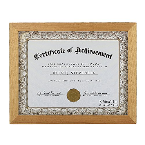 - 8.5x11 Document Frame / Certificate Frames Made of Solid Wood High Definition Glass and Display Certificates Standard Paper Frame Natural