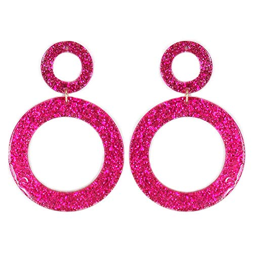 Glitter Open Cut Circle Celluloid Post Earrings (Fuchsia)