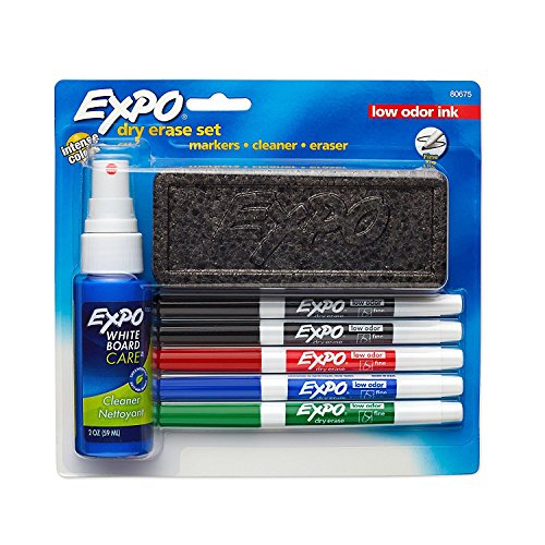 Set Erase Dry Marker (EXPO Low-Odor Dry Erase Set, Fine Point, Assorted Colors, 7-Piece Set)