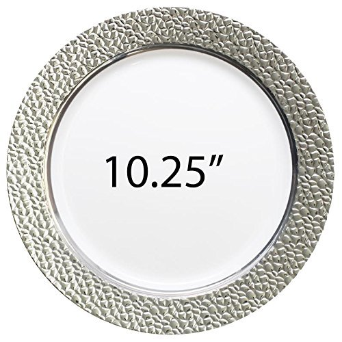 """Royalty Settings Hammered Collection Plastic Plates, Disposable Wedding Dinnerware, Set of 40 Elegant Hammered Designed Plates, White/Silver, 10.25"""" Plates"""