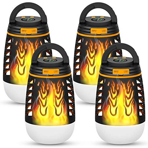 BATTOP Flickering Flames Torches Lights, Outdoor Garden Lantern Flame Camping Lantern, Waterproof Rechargeable Design for Patio Landscape Decoration (4 Pack)]()