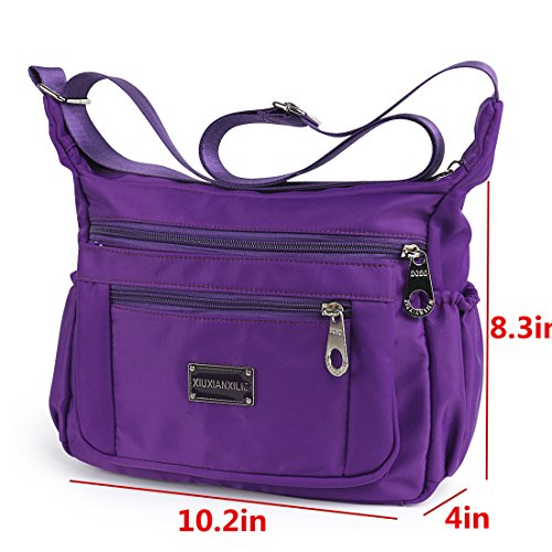 Lightweight With Shoulder Water Crossbody Women Rose Red Nylon Bags for Resistant Bags wq60a6XA