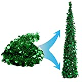 Joy-Leo 5 Foot Green Pop-up Collapsible Tinsel Pencil Indoor Christmas Tree with Shiny Sequins for Fireplace & Party & Office & Classroom, Beach Folding Artificial Xmas Trees for Home Decoration