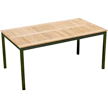 Amazon De Edelstahl Teak Gartentisch 160x90 Cm Holztisch Esstisch