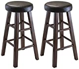 Cheap Winsome Wood Marta Assembled Round Counter Stool with PU Leather Cushion Seat, Square Legs, 25.4-Inch, Set of 2