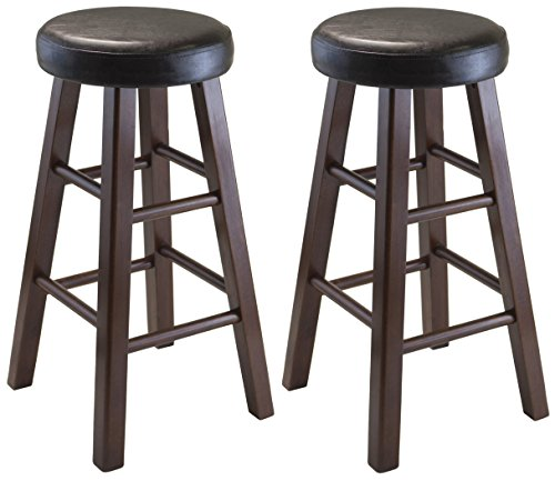 Winsome Wood Marta Assembled Round Counter Stool with PU Leather Cushion Seat, Square Legs, 25.4-Inch, Set of (24 Inch Round Bar Stool)