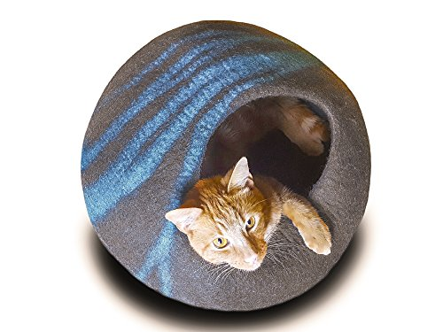Meowfia Premium Cat Cave (Large) - Eco Friendly 100% Merino Wool Beds for Cats and Kittens (Asphalt/Aquamarine)