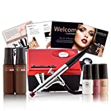 Luminess Air Aqua & White Legend Airbrush System with 5-Piece Silk 4-IN-1 Deluxe Airbrush Foundation & Cosmetic Starter Kit, Medium