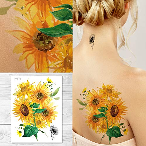 Supperb Temporary Tattoos - Watercolor Painting Bouquet of Sunflower Sunflowers Tattoo