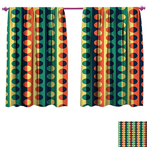 - Geometric Circle Room Darkening Wide Curtains Pop Art Style Vertical Striped Half-Pattern Ring Forms Retro Poster Print Waterproof Window Curtain W108 x L72 Orange Teal