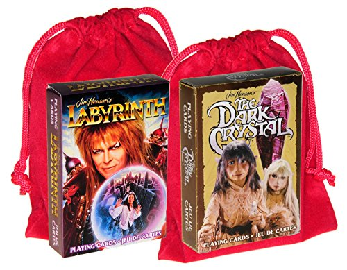 Jim Henson's Labyrinth and Dark Crystal Themed Playing Cards _ 2 Unique Decks _ Bonus 2 RED Velveteen Drawstring Pouches _ Bundled Items