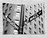 Ambesonne NYC Decor Collection, Street Signs of intersection of Wall Street and Broadway Finance Art Destinations Photo, Bedroom Living Room Dorm Wall Hanging Tapestry, 60 X 40 Inches, Black and White
