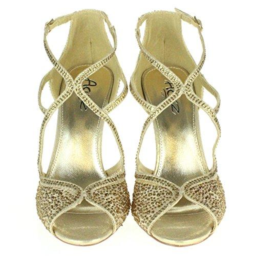 Mujer Señoras Diamante Tacón alto Peep Toe Correa cruzada Nupcial Noche Boda Fiesta Paseo Sandalias Zapatos Tamaño Oro