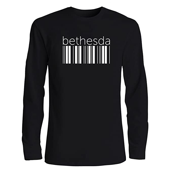 Idakoos Bethesda Barcode - Ciudades USA - Camiseta Manga Larga: Amazon.es: Ropa y accesorios