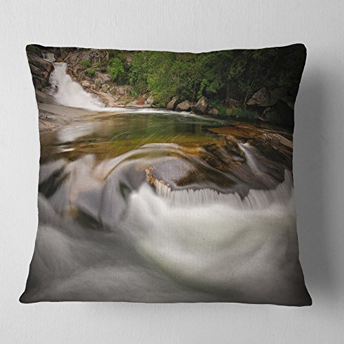 Designart CU9451-16-16 Segade Waterfall Galicia Spain' Landscape Photo Throw Cushion Pillow Cover for Living Room, Sofa, 16'' x 16'' by Designart
