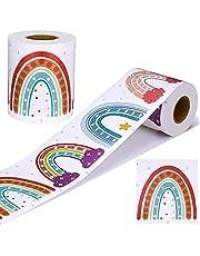 Teblacker 65ft Rainbow Bulletin Board Borders Cut Border Trim Roll Scalloped Border Trim Decoration Rainbows, Hearts, Polka Dots Walls Decals for School Classroom Chalkboard Whiteboard Decor