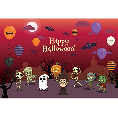 DORCEV 10x8ft Happy Halloween Photography Backdrop Halloween Party Costume Party Background Terrible Cemetery Tree Balloon Vampires Zombie Mummy Party Banner Halloween Photo Studio Props]()