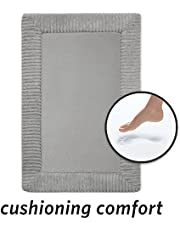 MICRODRY Ribbed Border Memory Foam Bath Mat With Griptex Skid-Resistant Base, 16 x 24, Charcoal