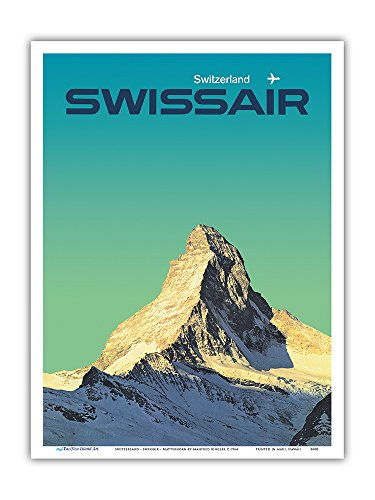 Pacifica Island Art Switzerland - SwissAir - Matterhorn - Vintage Airline Travel Poster by Manfred Bingler c.1964 - Master Art Print - 9in x 12in