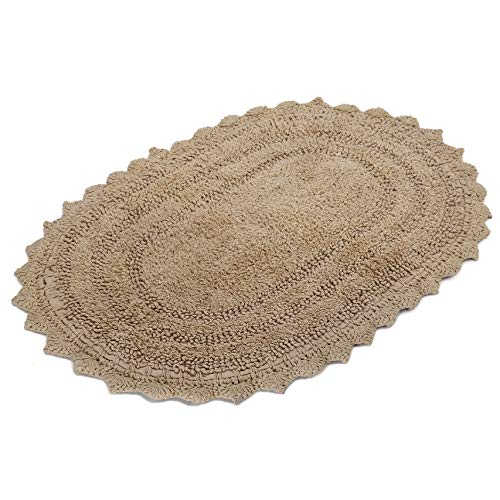 RAJRANG BRINGING RAJASTHAN TO YOU Front Door Mat Rugs - Crochet Oval Shape Shaggy Bath Rugs for Bathroom Cotton Mats - 17 x 24 Inch - Beige