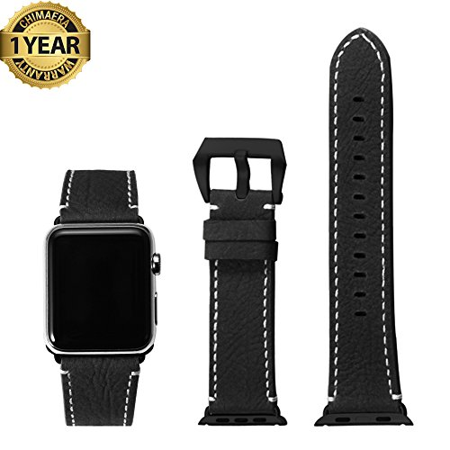 Apple Watch Band 42mm Vintage Genuine Calf Leather Series 1 Series 2 iWatch Replacement Handmade Strap Watchband Pre-v Clasp for Men and Women