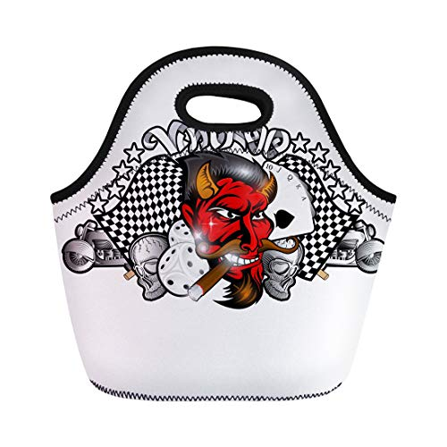 ch Tote Bag Head of Smoking Red Devil Between Dice Motorcycle Reusable Cooler Bags Insulated Thermal Picnic Handbag for Travel,School,Outdoors, Work ()