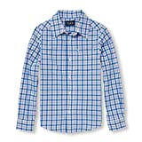 The Children's Place Big Boys' Gingham Woven Shirt, Pale Lavender, S (5/6)