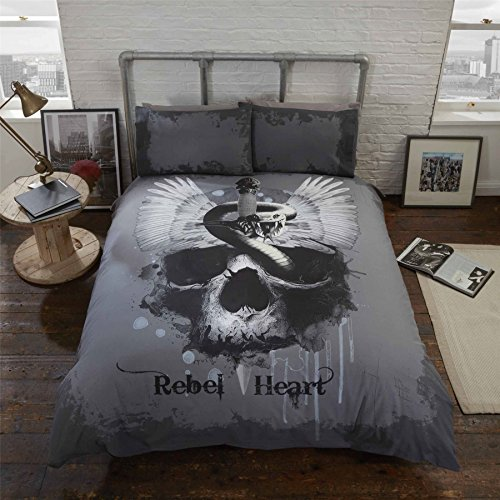 (GOTHIC SKULL SNAKE WINGS GREY BLACK COTTON BLEND USA QUEEN SIZE (COMFORTER COVER 230 X 220 - UK KING SIZE) (PLAIN CHARCOAL GREY FITTED SHEET - 152 X 200CM + 25 - UK KING SIZE) 4 PIECE BEDDING SET)